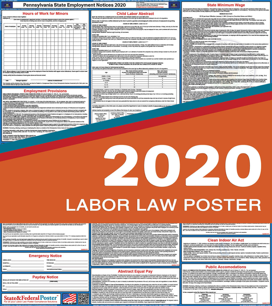 Pennsylvania State Labor Law Poster 2020 - State and Federal Poster