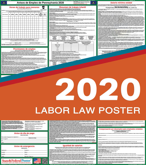 Pennsylvania State Labor Law Poster 2020 (SPANISH) - State and Federal Poster
