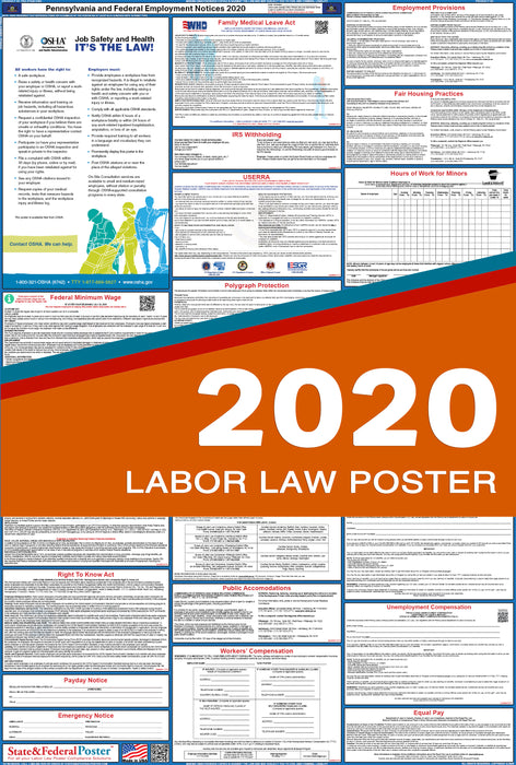 Pennsylvania State and Federal Labor Law Poster 2020 - State and Federal Poster