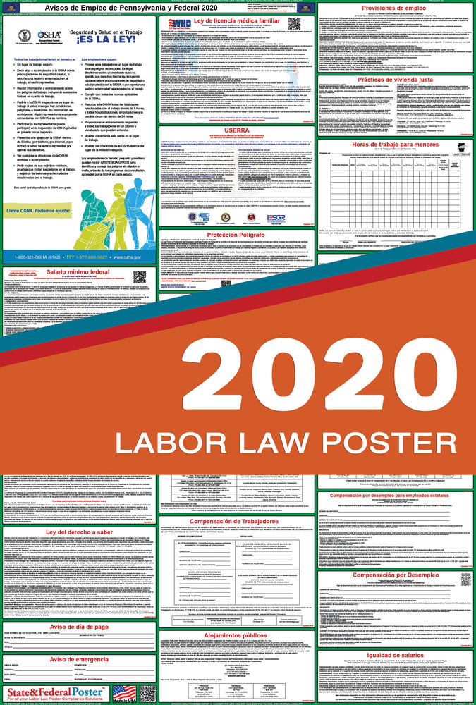 Pennsylvania State and Federal Labor Law Poster 2020 (SPANISH) - State and Federal Poster