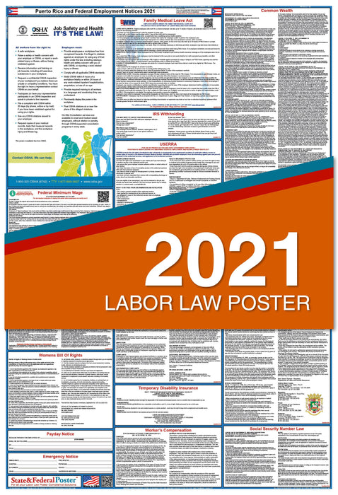Puerto Rico State and Federal Labor Law Poster 2021
