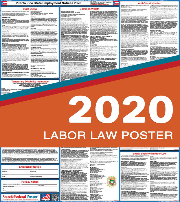 Puerto Rico State Labor Law Poster 2020 - State and Federal Poster