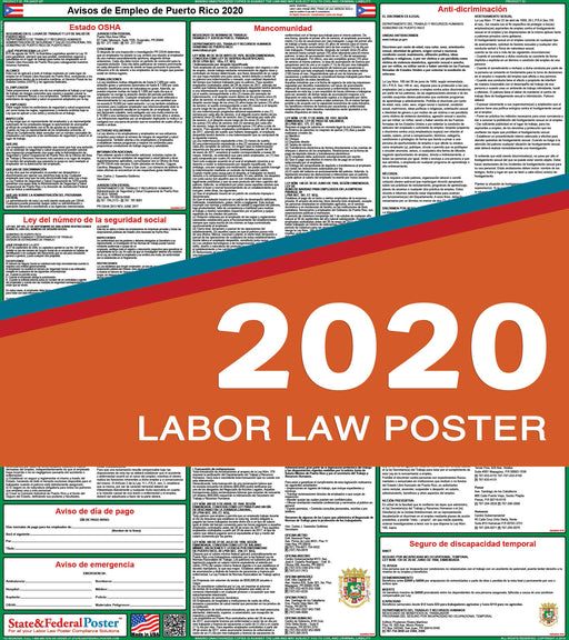Puerto Rico State Labor Law Poster 2020 (SPANISH) - State and Federal Poster