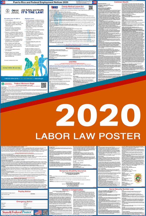 Puerto Rico State and Federal Labor Law Poster 2020 - State and Federal Poster