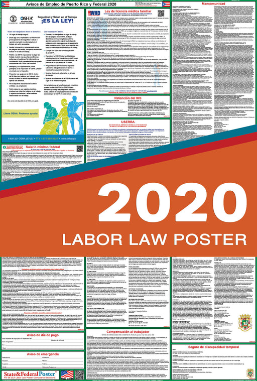 Puerto Rico State and Federal Labor Law Poster 2020 (SPANISH) - State and Federal Poster