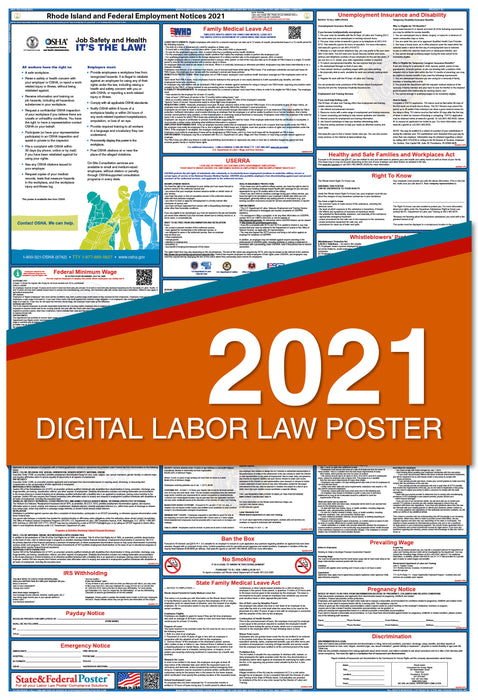 Digital Rhode Island State and Federal Labor Law Poster 2021