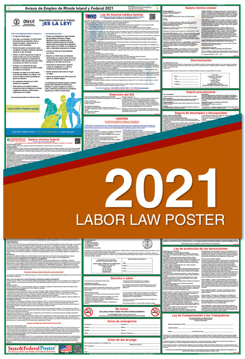 Rhode Island State and Federal Labor Law Poster 2021 (SPANISH)