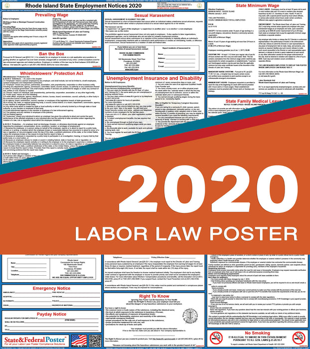 Rhode Island State Labor Law Poster 2020 - State and Federal Poster