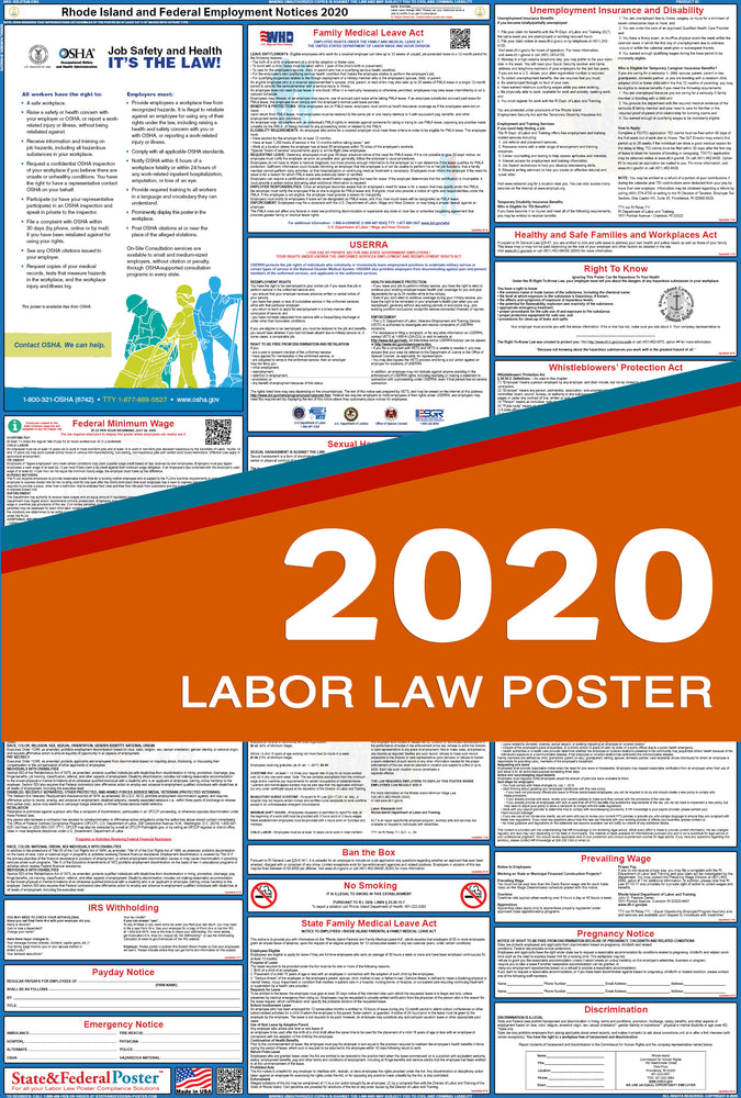 Rhode Island State and Federal Labor Law Poster 2020 - State and Federal Poster