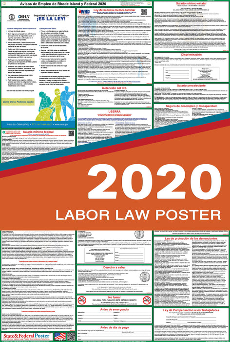 Rhode Island State and Federal Labor Law Poster 2020 (SPANISH) - State and Federal Poster