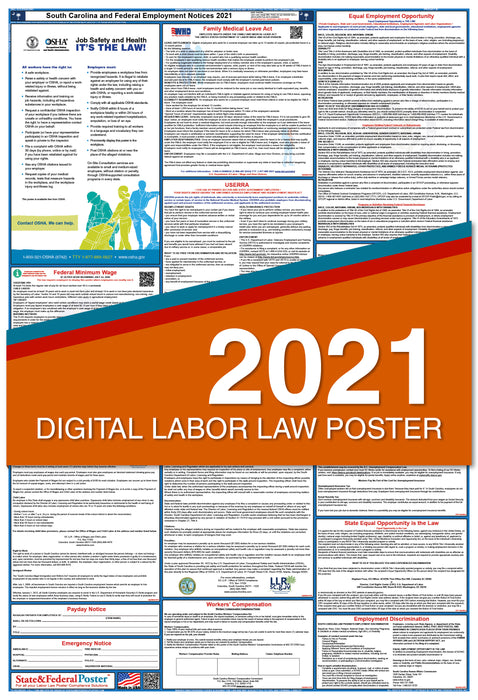 PREORDER - South Carolina State and Federal Labor Law Poster 2021