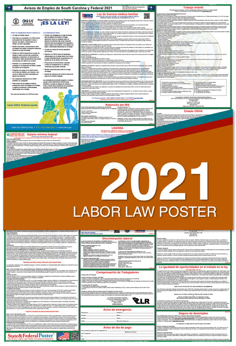 South Carolina State and Federal Labor Law Poster 2021 (SPANISH)
