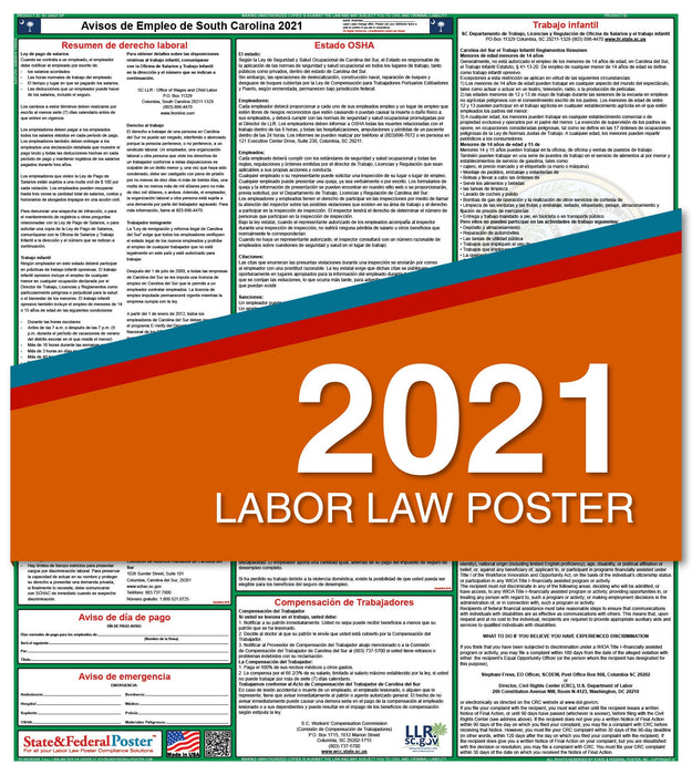 South Carolina State Labor Law Poster 2021 (Spanish)