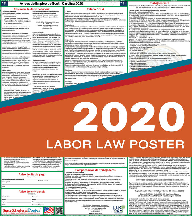 South Carolina State Labor Law Poster 2020 (SPANISH) - State and Federal Poster