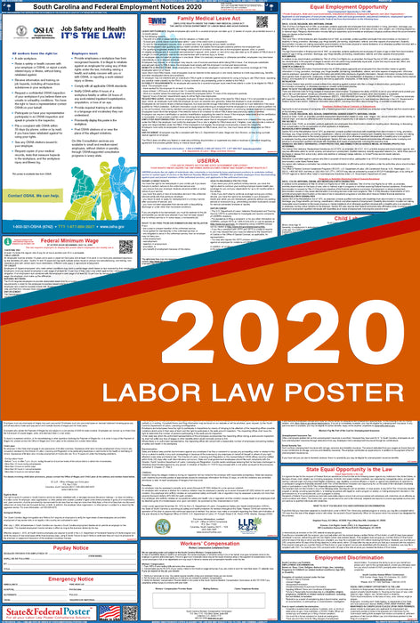South Carolina State and Federal Labor Law Poster 2020 - State and Federal Poster