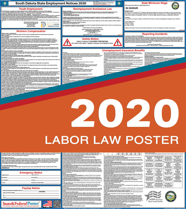 South Carolina State Labor Law Poster 2020 - State and Federal Poster