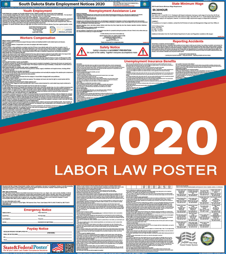 South Dakota State Labor Law Poster 2020 - State and Federal Poster