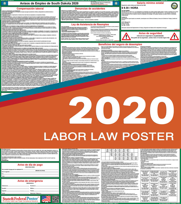 South Dakota State Labor Law Poster 2020 (SPANISH) - State and Federal Poster