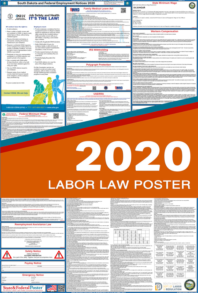 South Dakota State and Federal Labor Law Poster 2020 - State and Federal Poster