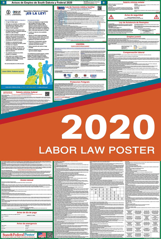 South Dakota State and Federal Labor Law Poster 2020 (SPANISH) - State and Federal Poster
