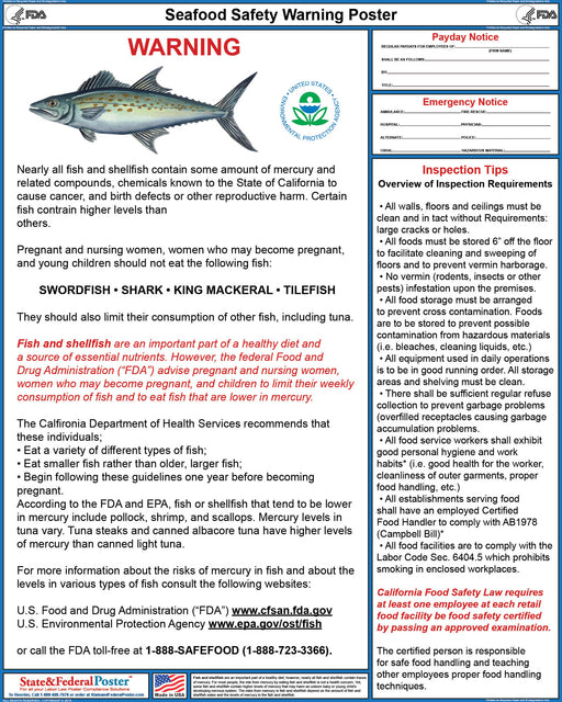 Seafood Safety Warning Poster - State and Federal Poster