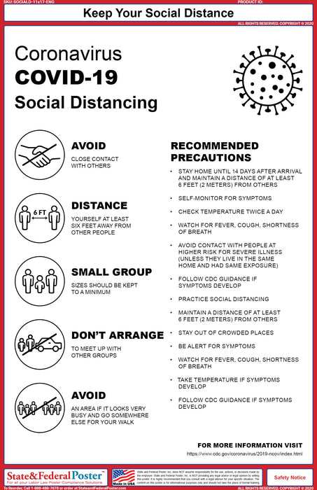 Social Distancing Poster - State and Federal Poster