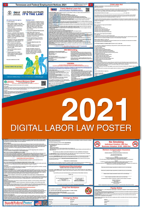 Digital Tennessee State and Federal Labor Law Poster 2021