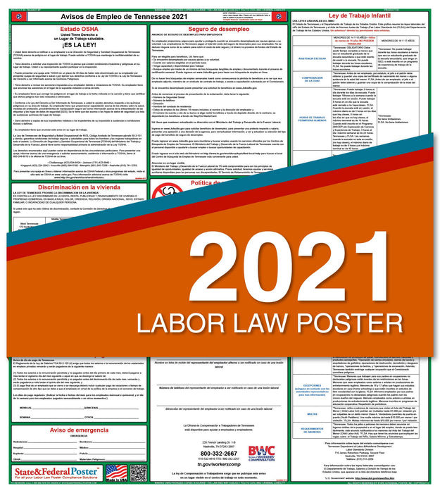 Tennessee State Labor Law Poster 2021 (Spanish)