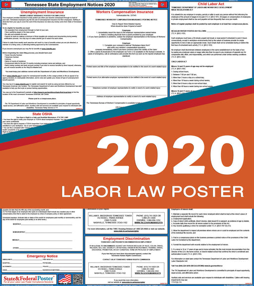 Tennessee State Labor Law Poster 2020 - State and Federal Poster