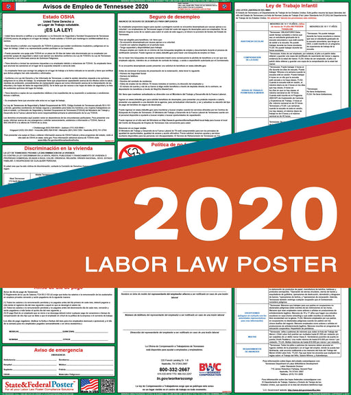 Tennessee State Labor Law Poster 2020 (SPANISH) - State and Federal Poster