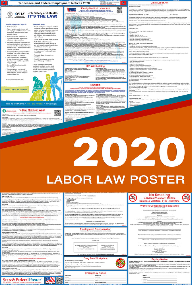 Tennessee State and Federal Labor Law Poster 2020 - State and Federal Poster