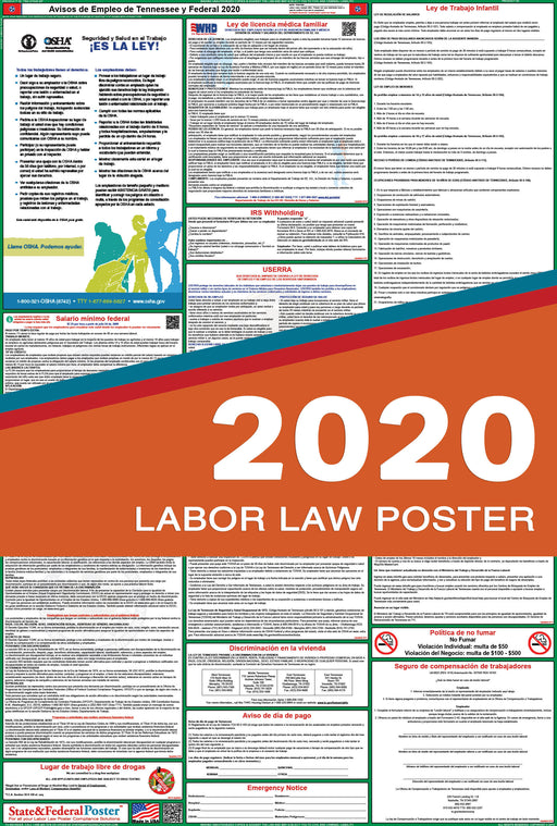 Tennessee State and Federal Labor Law Poster 2020 (SPANISH) - State and Federal Poster