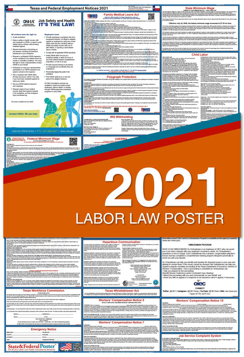 Texas State and Federal Labor Law Poster 2021