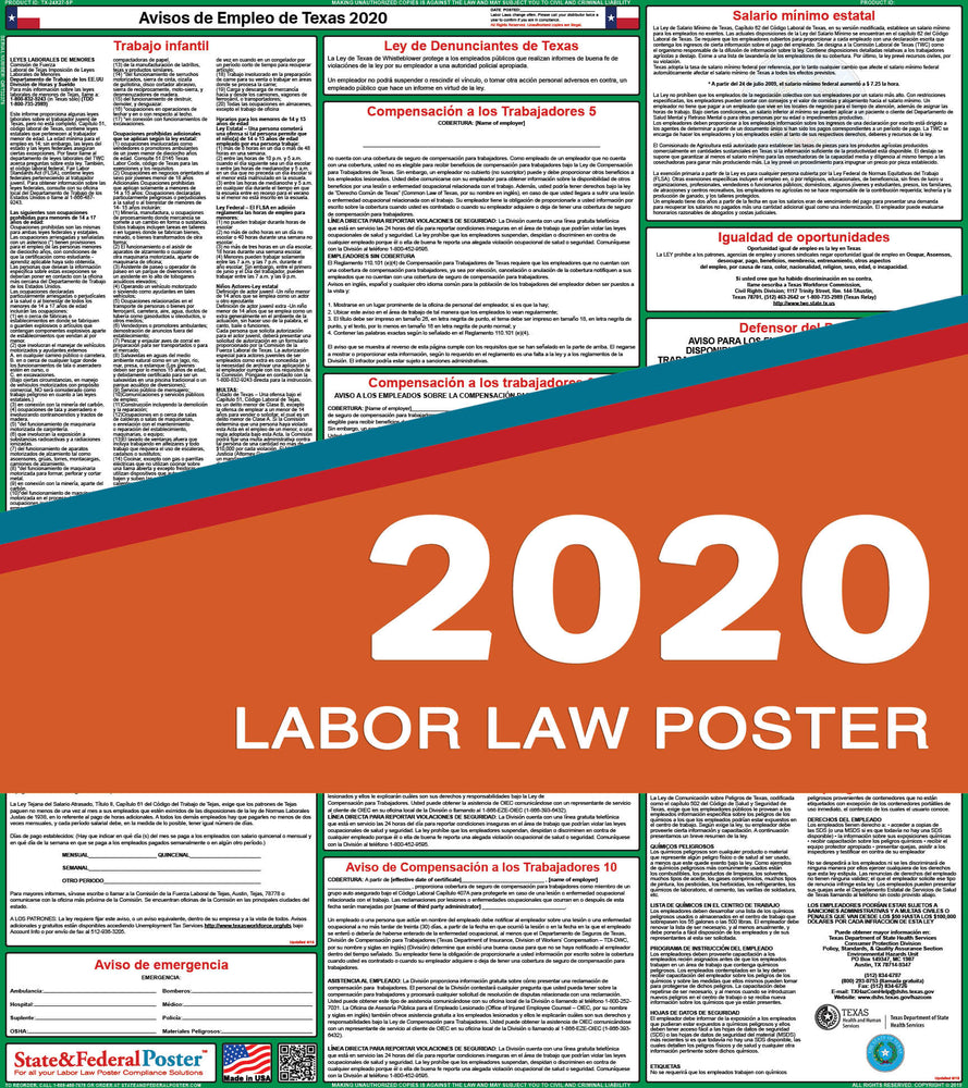 Texas State Labor Law Poster 2020 (SPANISH) - State and Federal Poster