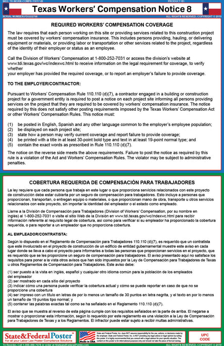 Texas Workers' Compensation Notice 8 (Bilingual) - State and Federal Poster