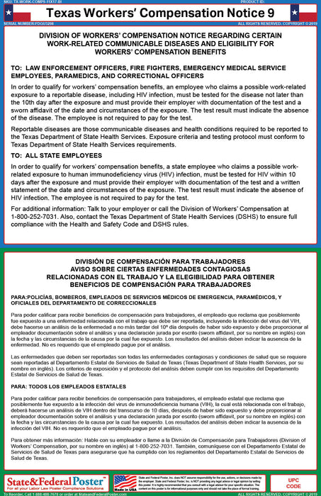 Texas Workers' Compensation Notice 9 (Bilingual) - State and Federal Poster