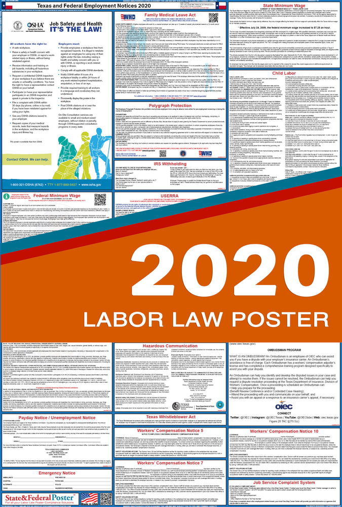 Texas State and Federal Labor Law Poster 2020 - State and Federal Poster