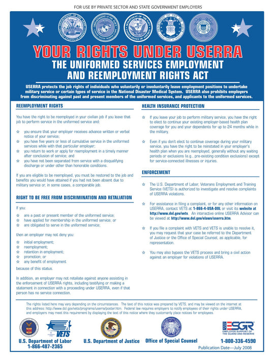 Uniformed Services Employment And Reemployment Rights Act (USERRA) - State and Federal Poster