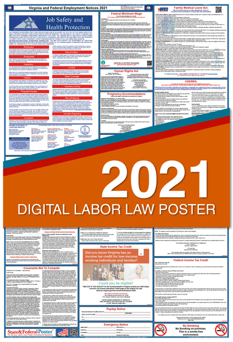 Digital Virginia State and Federal Labor Law Poster 2021