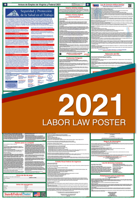 Virginia State and Federal Labor Law Poster 2021 (SPANISH)