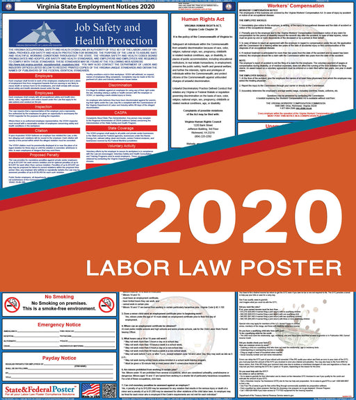 Virginia State Labor Law Poster 2020 - State and Federal Poster