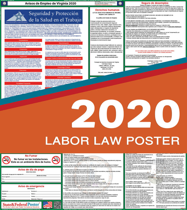 Virginia State Labor Law Poster 2020 (SPANISH) - State and Federal Poster