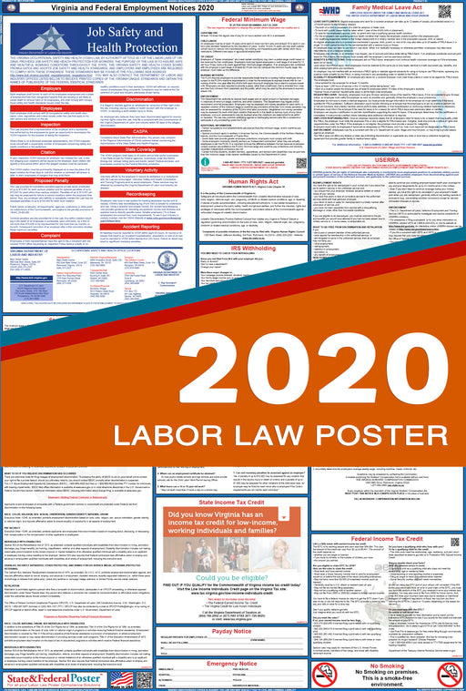 Virginia State and Federal Labor Law Poster 2020 - State and Federal Poster