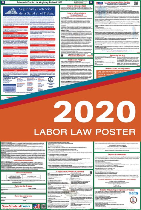 Virginia State and Federal Labor Law Poster 2020 (SPANISH) - State and Federal Poster