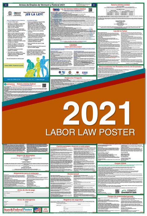 Vermont State and Federal Labor Law Poster 2021 (SPANISH)
