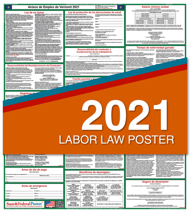 Vermont State Labor Law Poster 2021 (Spanish)