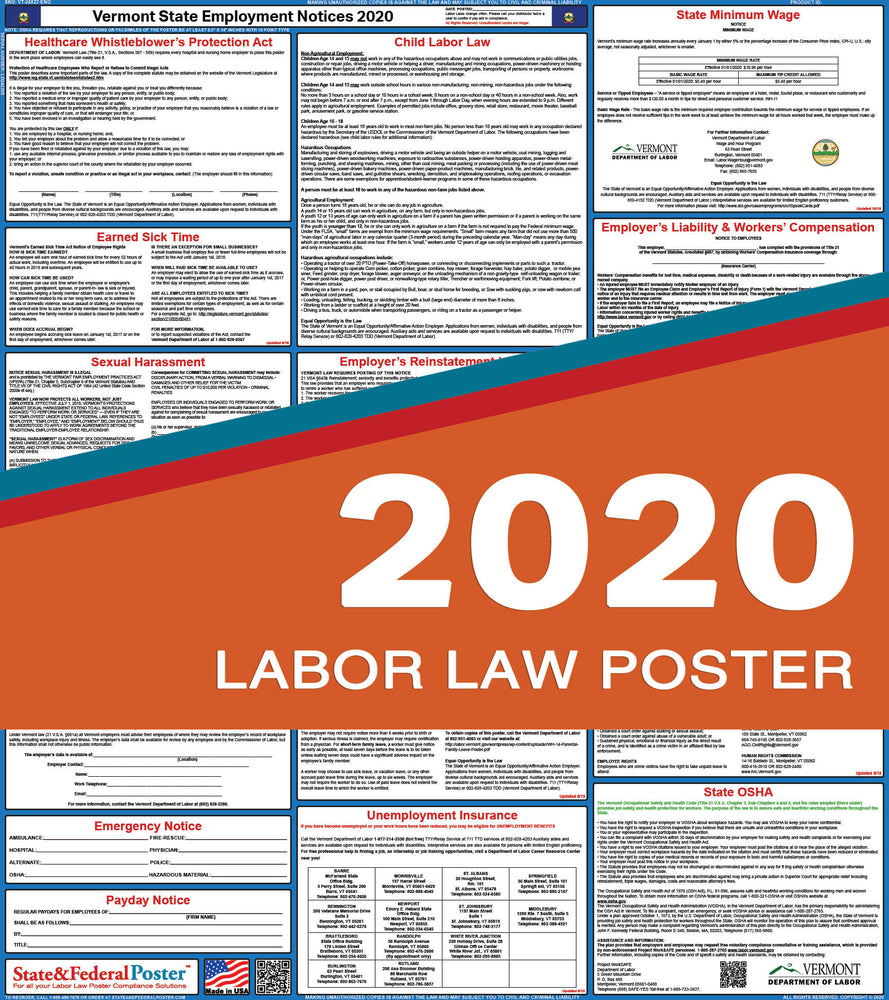 Vermont State Labor Law Poster 2020 - State and Federal Poster