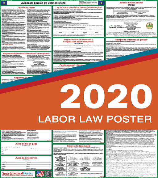 Vermont State Labor Law Poster 2020 (SPANISH) - State and Federal Poster