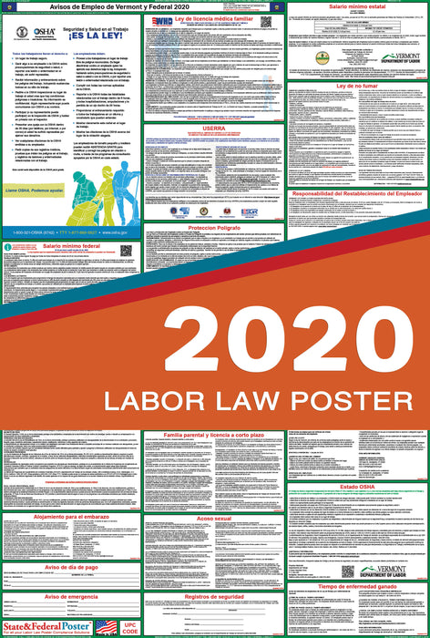 Vermont State and Federal Labor Law Poster 2020 (SPANISH) - State and Federal Poster