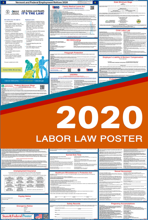 Vermont State and Federal Labor Law Poster 2020 - State and Federal Poster